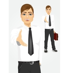 Young businessman giving a hand for handshake vector