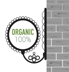 Organic symbol on brick wall vector