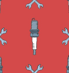 Spark plug with crossed wrenches seamless pattern vector