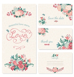 Beautiful vintage wedding set vector