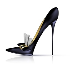 Black shoe with bow vector