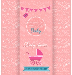 Baby pink card with blurred background vector