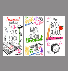 back to school flyer set vector image