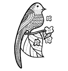 bird on branch with leaves and flowers coloring vector image vector image