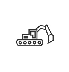 Bulldozer excavator linear style flat business vector image