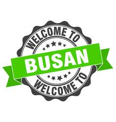 busan round ribbon seal vector image vector image