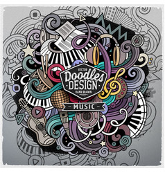 cartoon cute doodles hand drawn music vector image