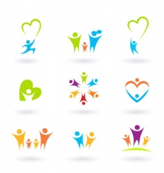 children and family icons vector image vector image