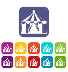 Circus tent icons set vector