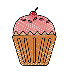 Color drawing pencil cartoon cupcake with cherry vector