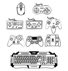 Computer gamer equipment vector