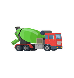 Concrete mixing truck flat design vector
