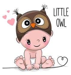 Cute cartoon baby boy in a owl hat vector
