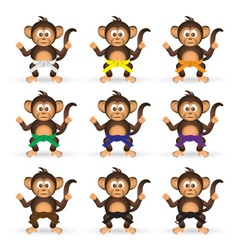 Cute chimpanzee set with karate training color vector
