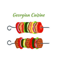 doner kebab skewers - fried meat georgian cuisine vector image vector image