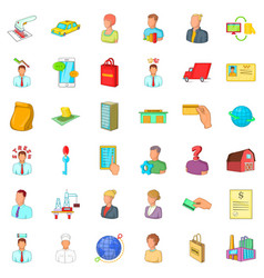 Fast career icons set cartoon style vector