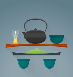 Flat matcha tea ceremony icon vector