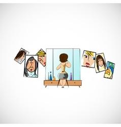Girl preens before a mirror sketch vector