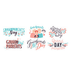 grandparents day lettering different hand drawn vector image