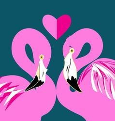 Graphics in love pink flamingos on a blue vector