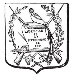 Guatemalan coat of arms have bird and bayonet vector