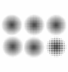 halftone effects set monochrome dots in circles vector image vector image