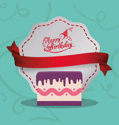 happy birthday card cake sweet banner vector image