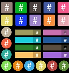 Hash tag icon set from twenty seven multicolored vector