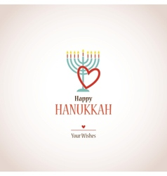 I love hanukkah hanukkah menora with heart vector