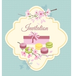 Invitation card to tea party with flowers and vector image vector image