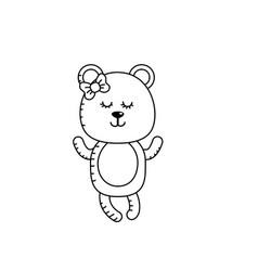 Line cute bear girl wild animal character vector