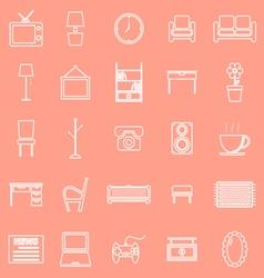 Living room line icons on orange background vector