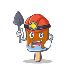 Miner ice cream character cartoon vector