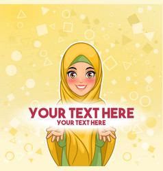 Muslim woman presenting text space vector