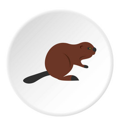 North american beaver icon circle vector