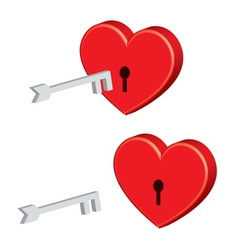 padlock heart with key vector image vector image