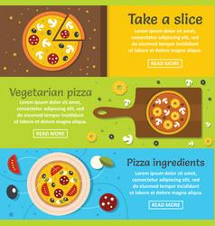 Pizza ingredient banner horizontal set flat style vector