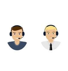 Set of men telemarketer call center operator hot vector image