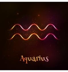 Shining neon zodiac aquarius symbol vector