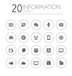 Simple thin information icons collection on white vector