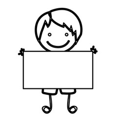 sketch silhouette front view cartoon boy with vector image