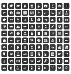 100 donation icons set black vector