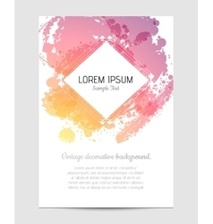 Invitation with hand drawn brush stain vector