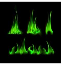 Set of different green fire flame bonfire vector