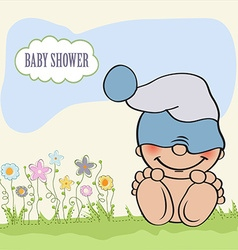 Baby boy shower card with funny little baby vector