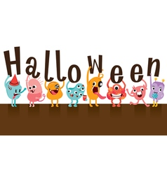 Monsters holding halloween alphabets vector