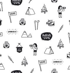 Outdoor adventures doodle pattern vector