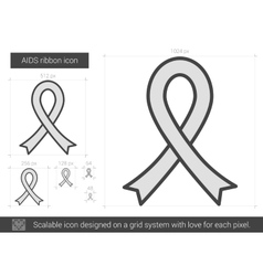 Aids ribbon line icon vector
