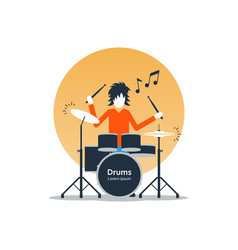 Person playing drums music entertainment live show vector