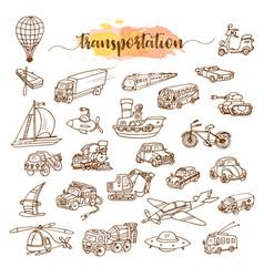 set of means of transport doodle sketch vector image